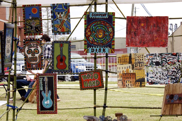 Various pieces of Art hanging on display at last years' festival.